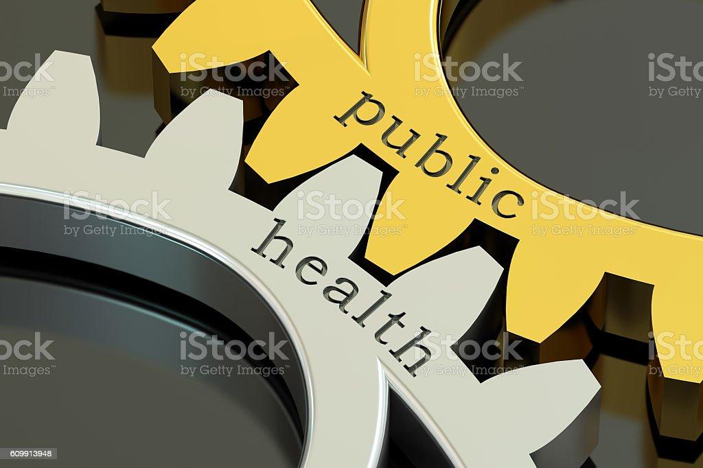 public health, concept on the gearwheels, 3D rendering vector art illustration
