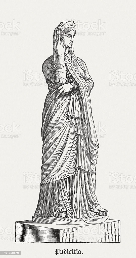 Pudicitia - Roman goddess of sexual modesty, published in 1878 vector art illustration