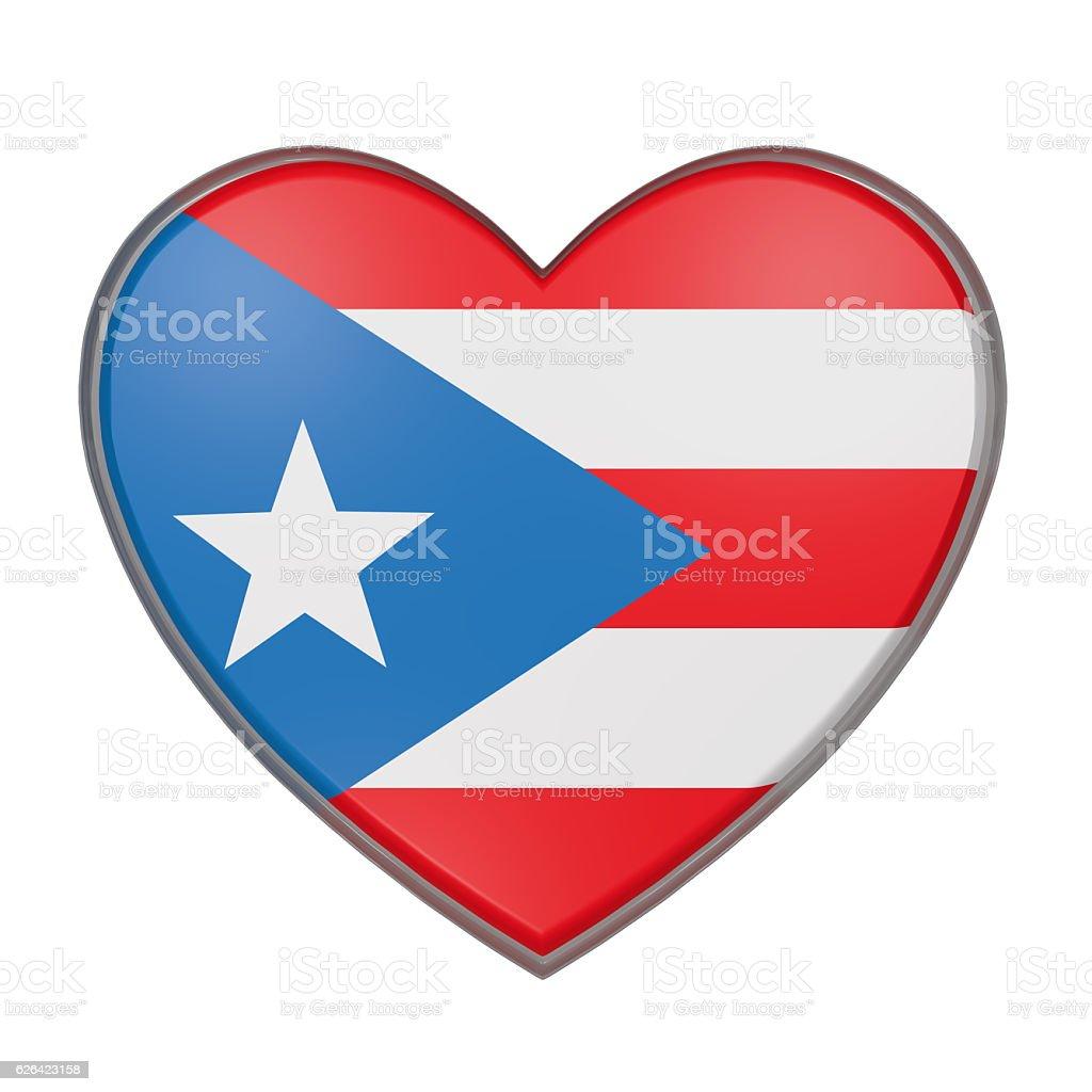 Puerto Rico heart vector art illustration