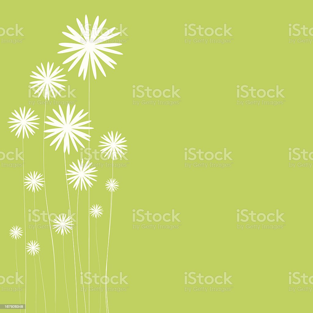 Puff flowers on green background royalty-free stock vector art