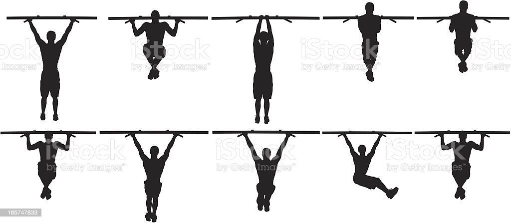 Pull ups workout vector art illustration