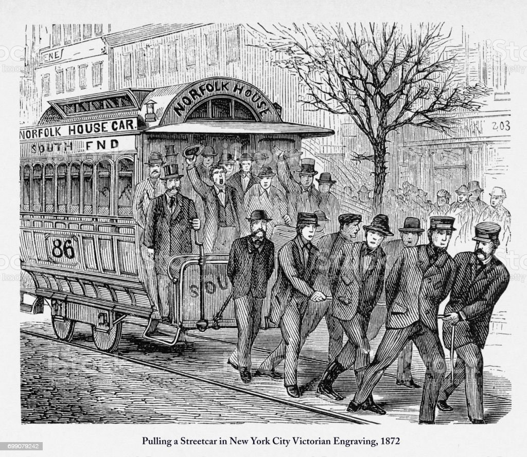 Pulling a Streetcar in New York City Victorian Engraving, 1872 vector art illustration