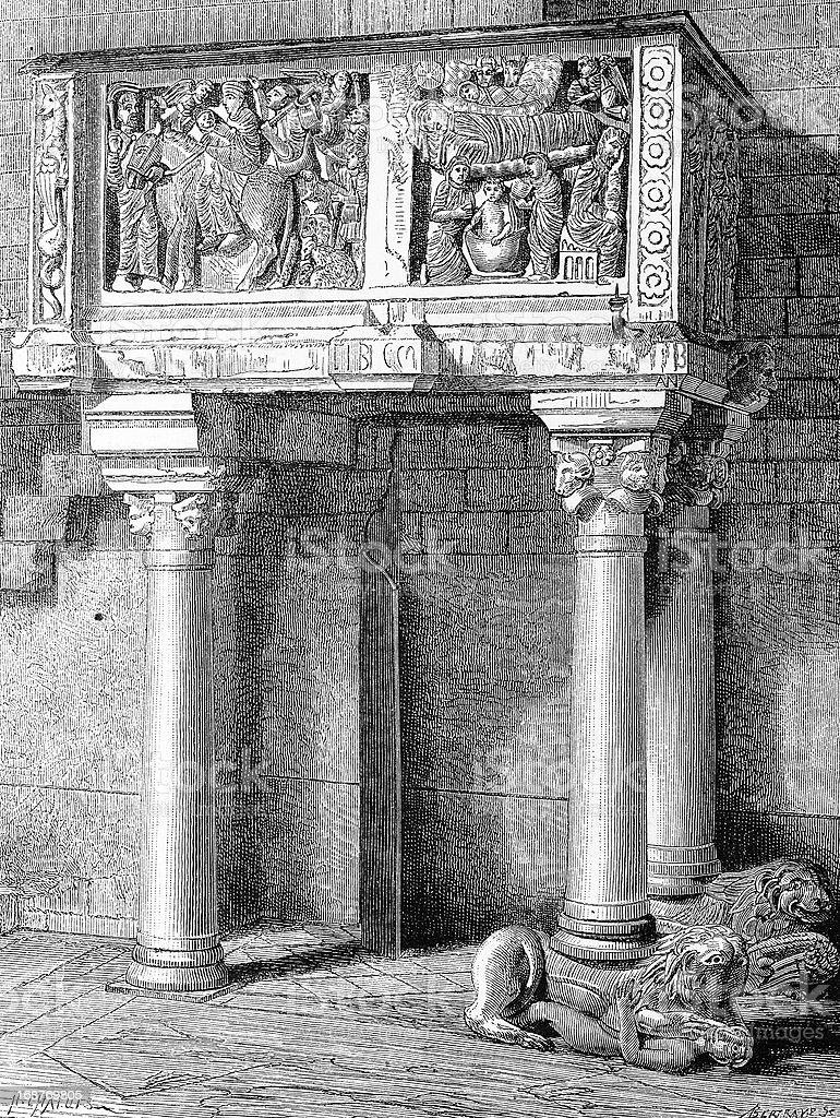 Pulpit in Pistoia's church vector art illustration