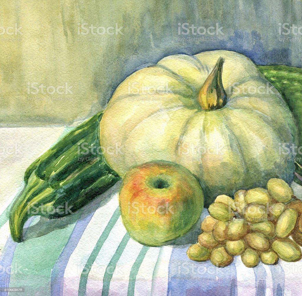 Pumpkin, Apple, zucchini, grapes, still life. Watercolor painting vector art illustration
