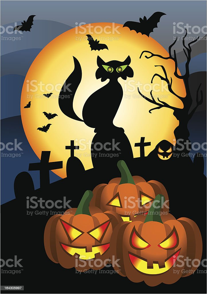 Pumpkin Halloween vector art illustration