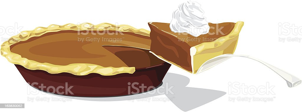 Pumpkin pie with a slice royalty-free stock vector art