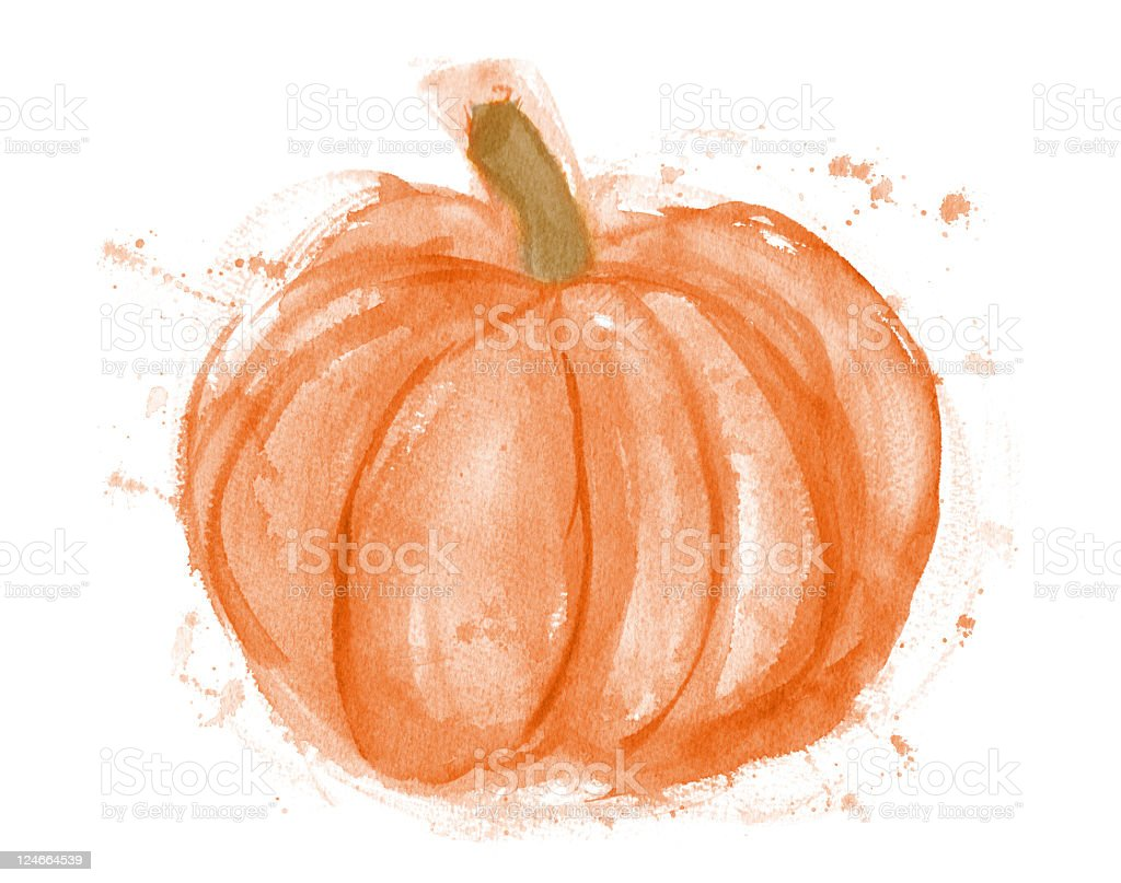Pumpkin Watercolor Painting on white royalty-free stock vector art