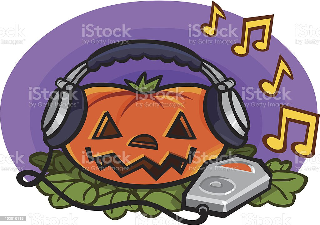 Pumpkin With MP3 Player and Headphones royalty-free stock vector art