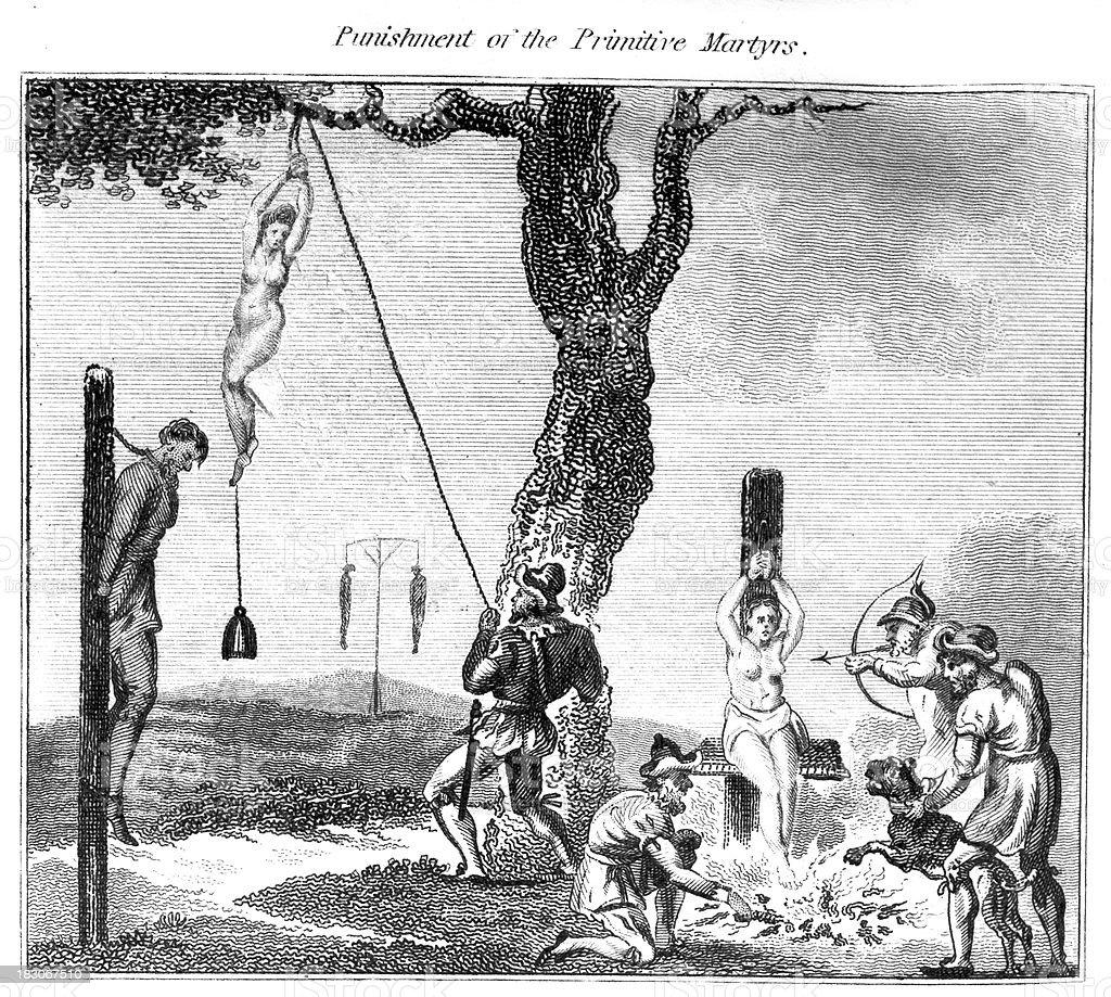 Punishment of the Primitive Martyrs vector art illustration