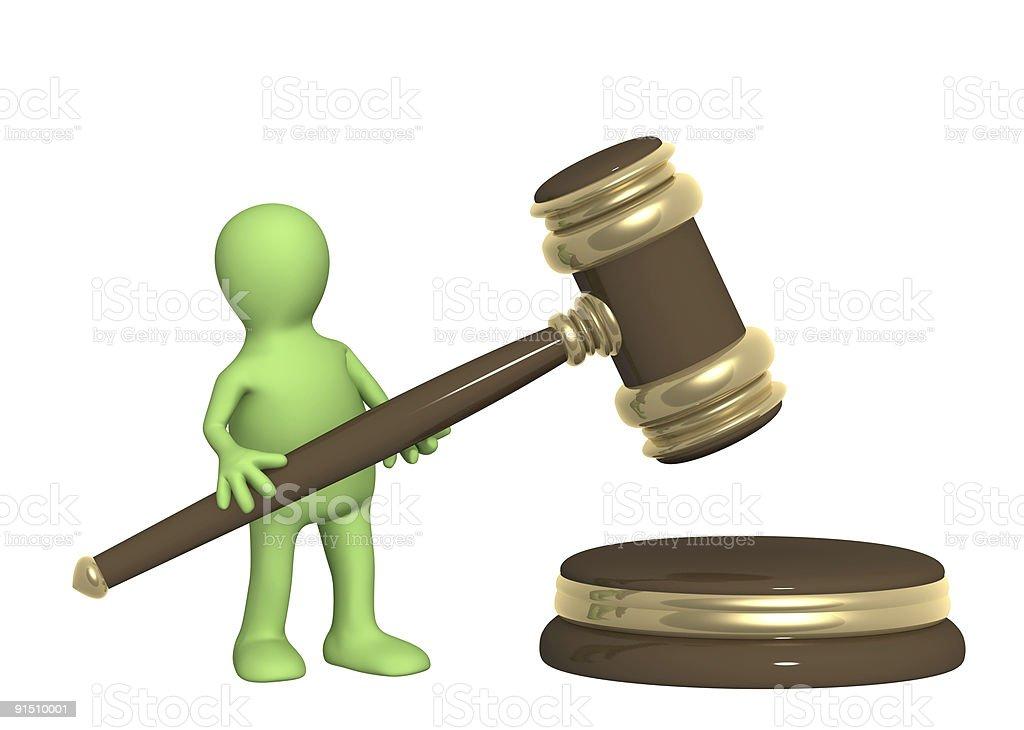 Puppet with judicial gavel vector art illustration