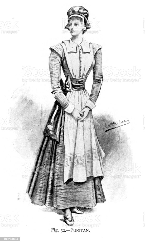 Puritan Costume - Victorian Fashion vector art illustration