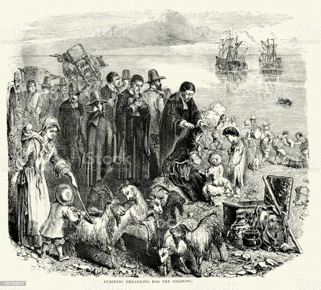 Puritans embarking for the Colonies vector art illustration