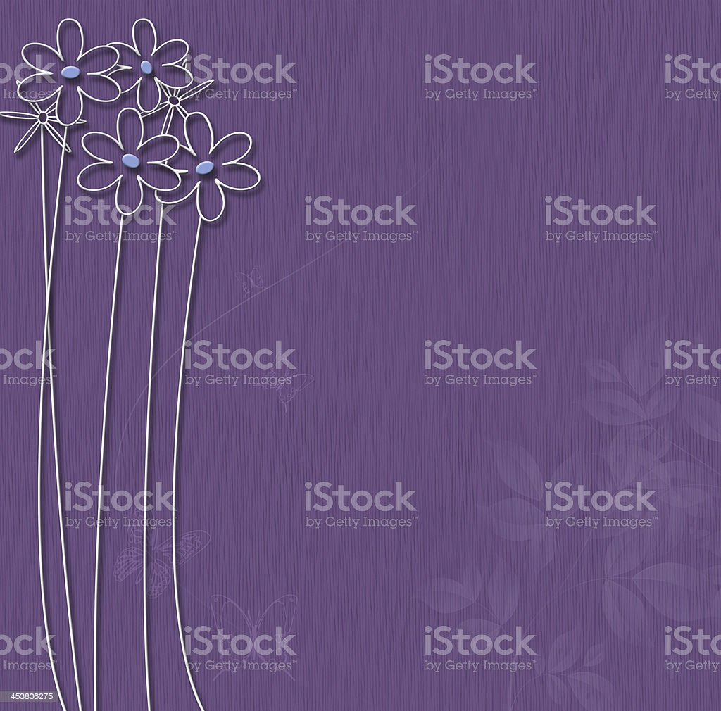 Purple background with white flowers royalty-free stock vector art