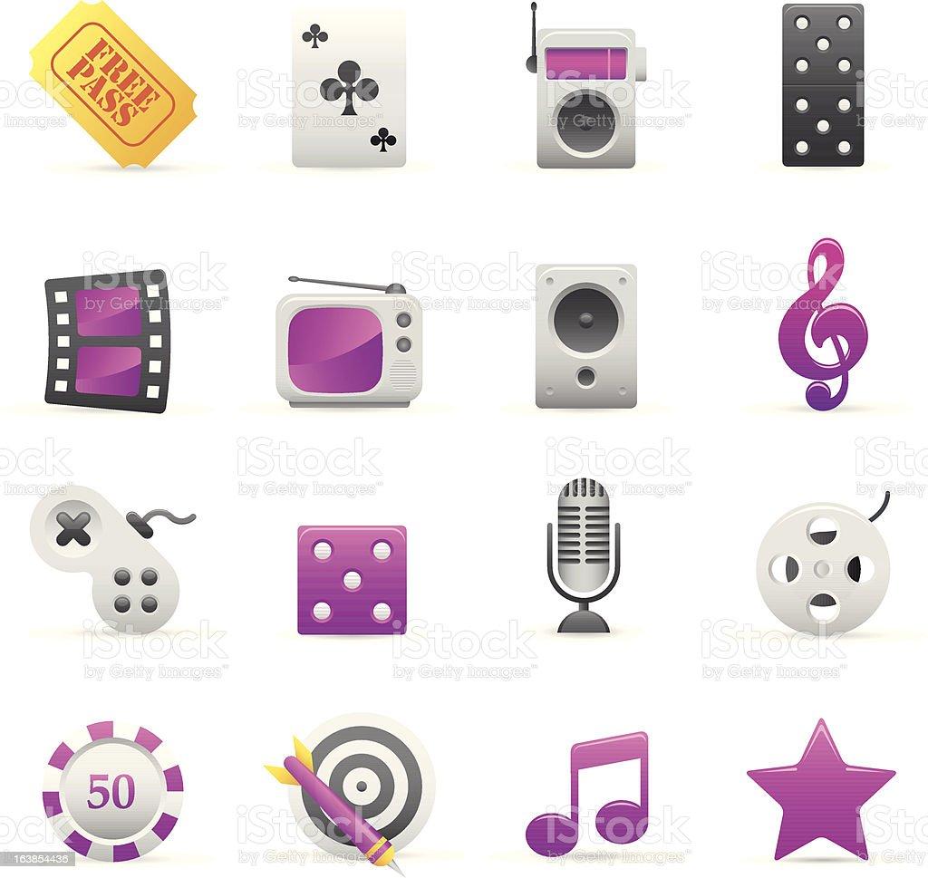Purple rozrywka ikony stockowa ilustracja wektorowa royalty-free