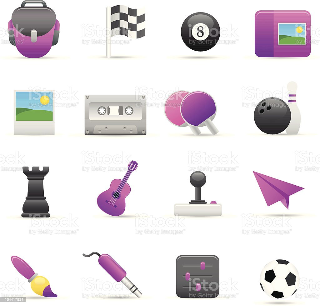 Purple Entertainment Icons royalty-free stock vector art