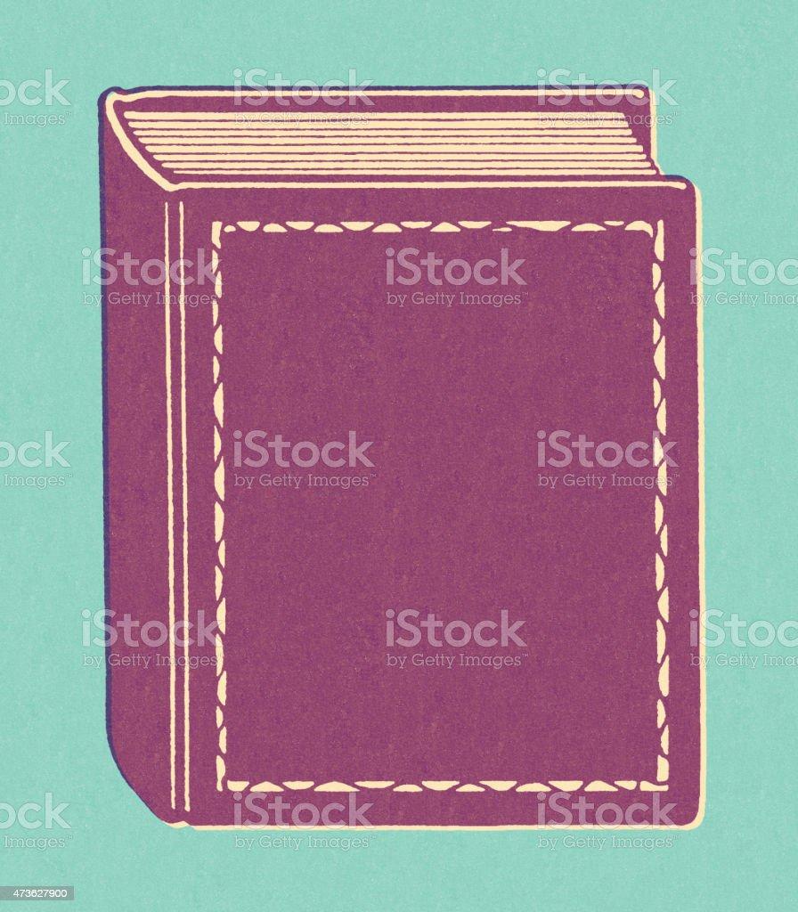 Purple Hardcover Book vector art illustration
