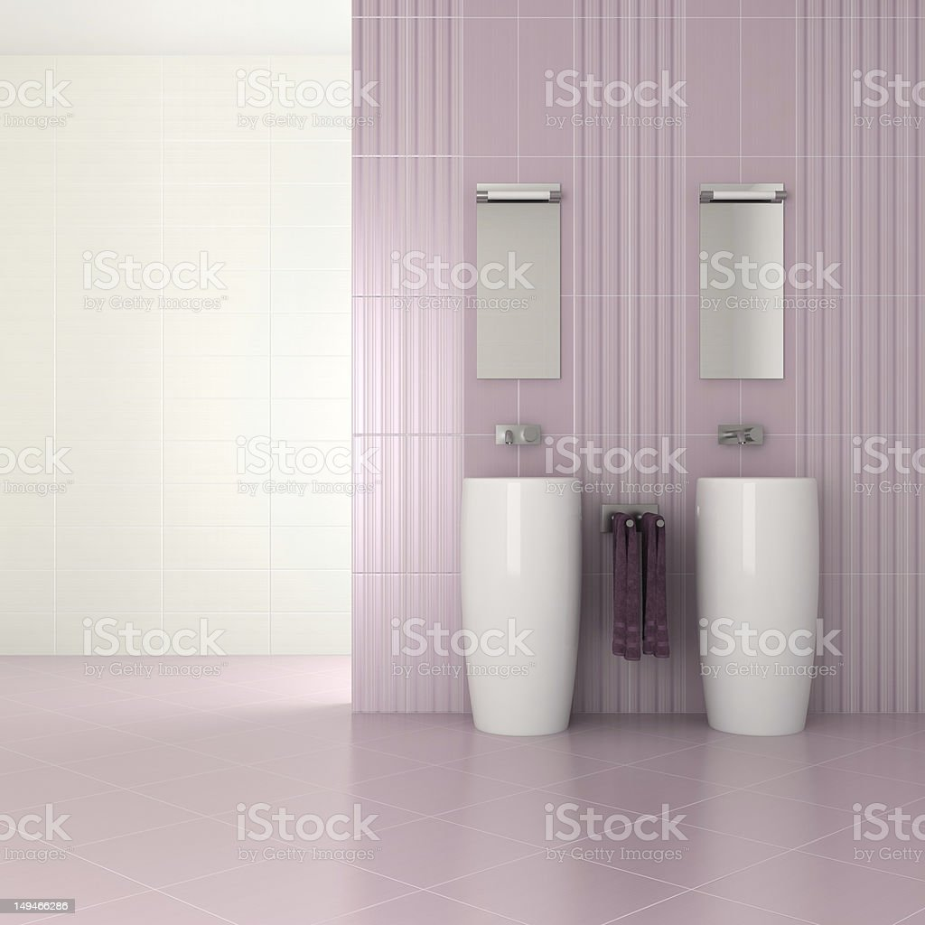 purple modern bathroom with double basin royalty-free stock vector art