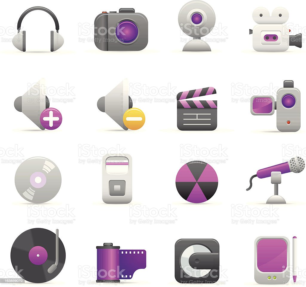 Purple ikony multimedialne stockowa ilustracja wektorowa royalty-free