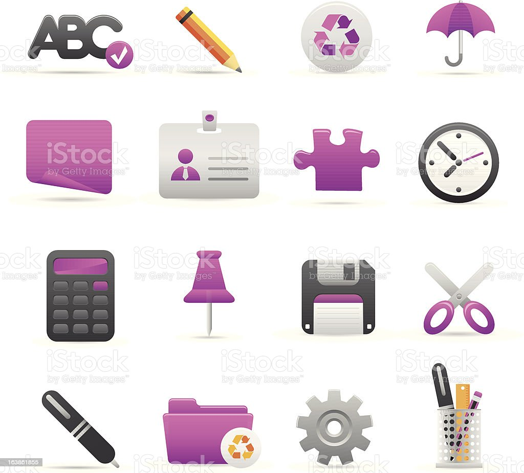 Purple Biuro ikony stockowa ilustracja wektorowa royalty-free