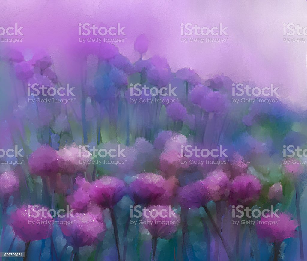 Purple onion flower.Oil painting.Abstract flower digital painting. vector art illustration