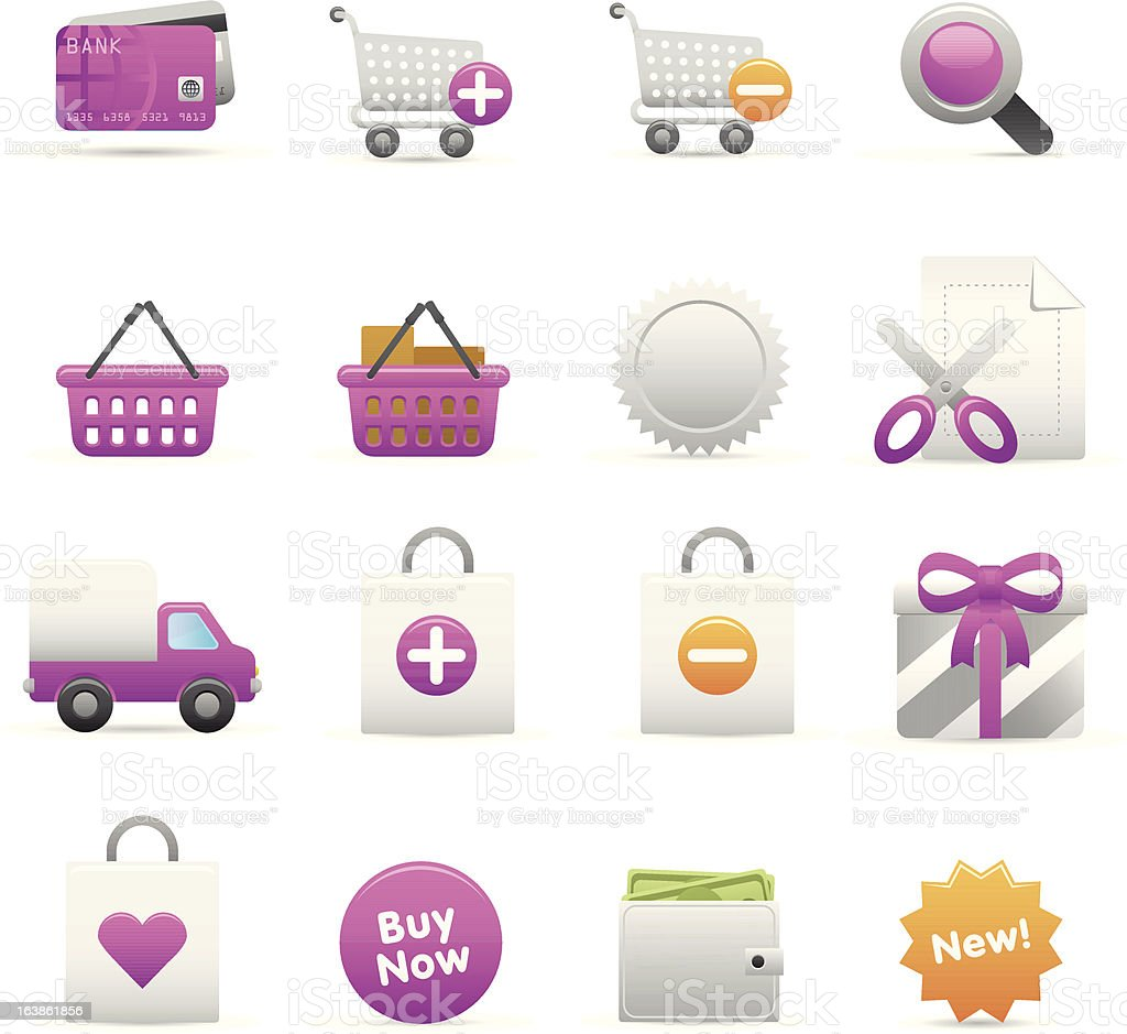Purple Shopping Icons royalty-free stock vector art