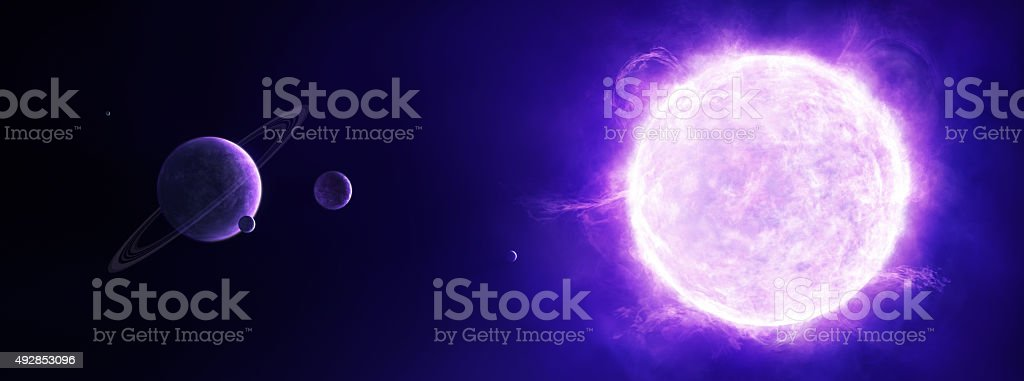 Purple sun in space with planets vector art illustration