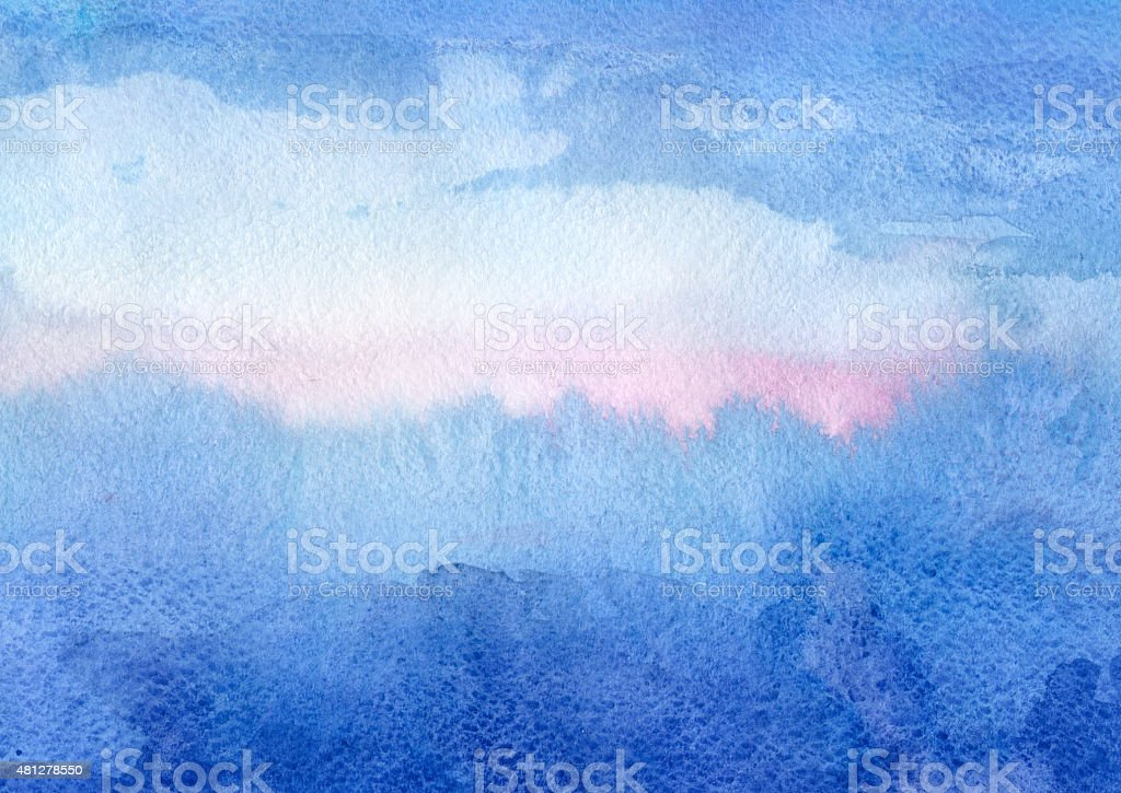 Purple Sunset - watercolor background vector art illustration