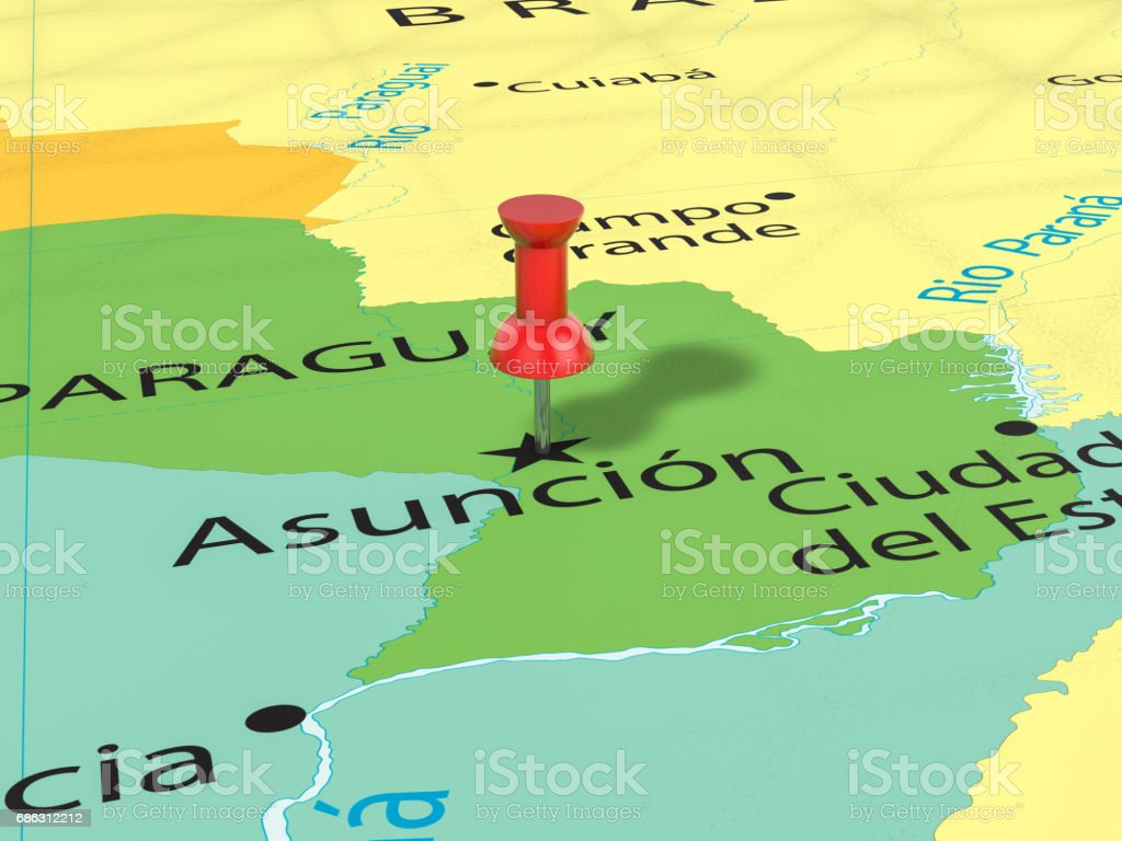 Pushpin on Asuncion map stock photo