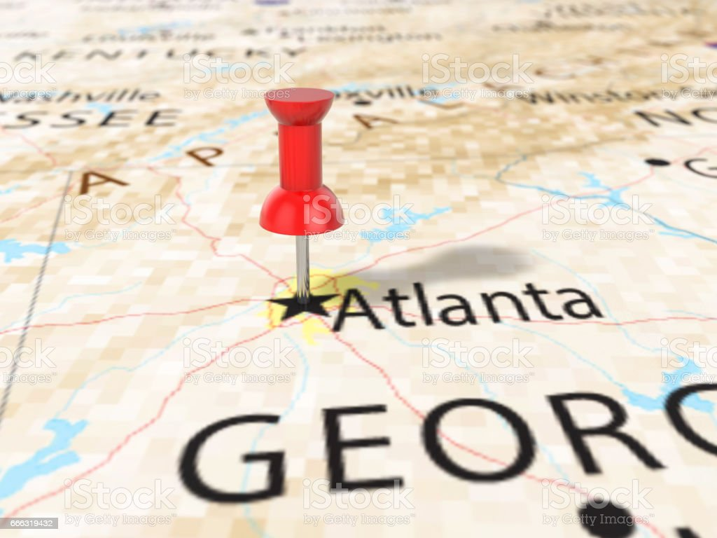 Pushpin on Atlanta map vector art illustration