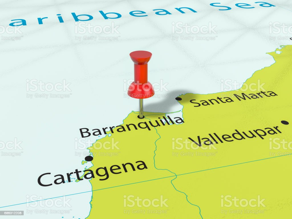 Pushpin on Barranquilla map stock photo