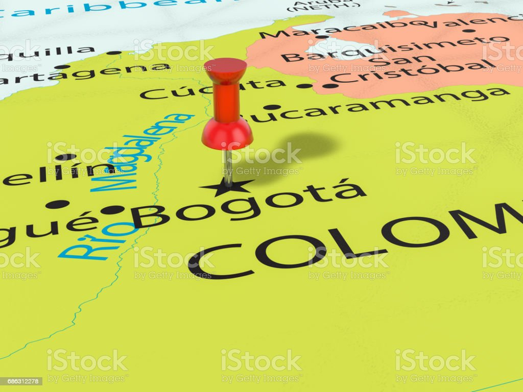 Pushpin on Bogota map stock photo