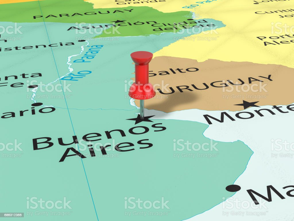 Pushpin on Buenos Aires map stock photo