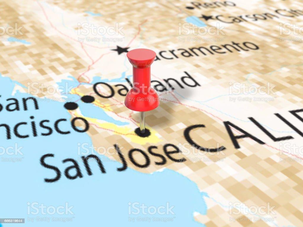 Pushpin On San Jose Map Stock Vector Art  IStock - Map of usa showing san jose