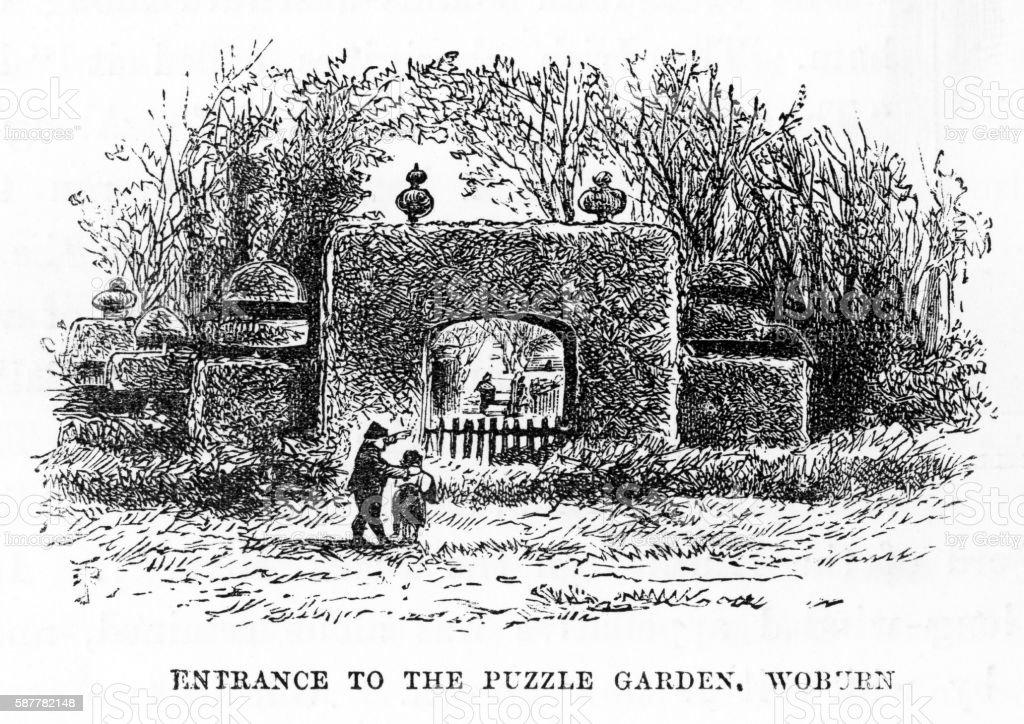 Puzzle Garden Entrance, Woburn, England Victorian Engraving, Circa 1840 vector art illustration
