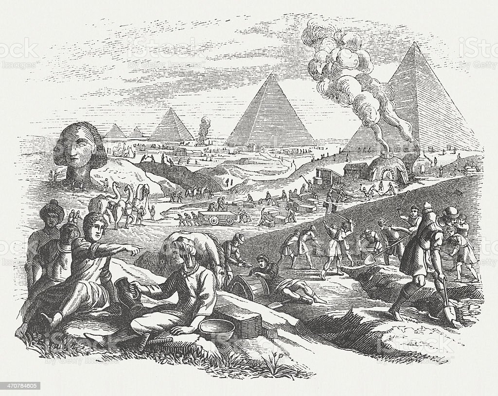 Pyramid construction in ancient Egypt, wood engraving, published in 1864 vector art illustration