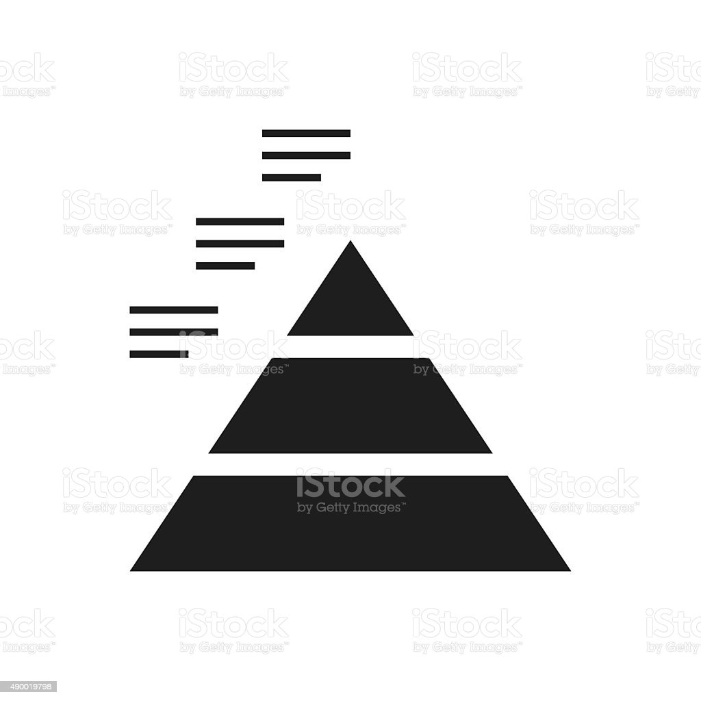 Pyramid icon on a white background. - Single Series vector art illustration