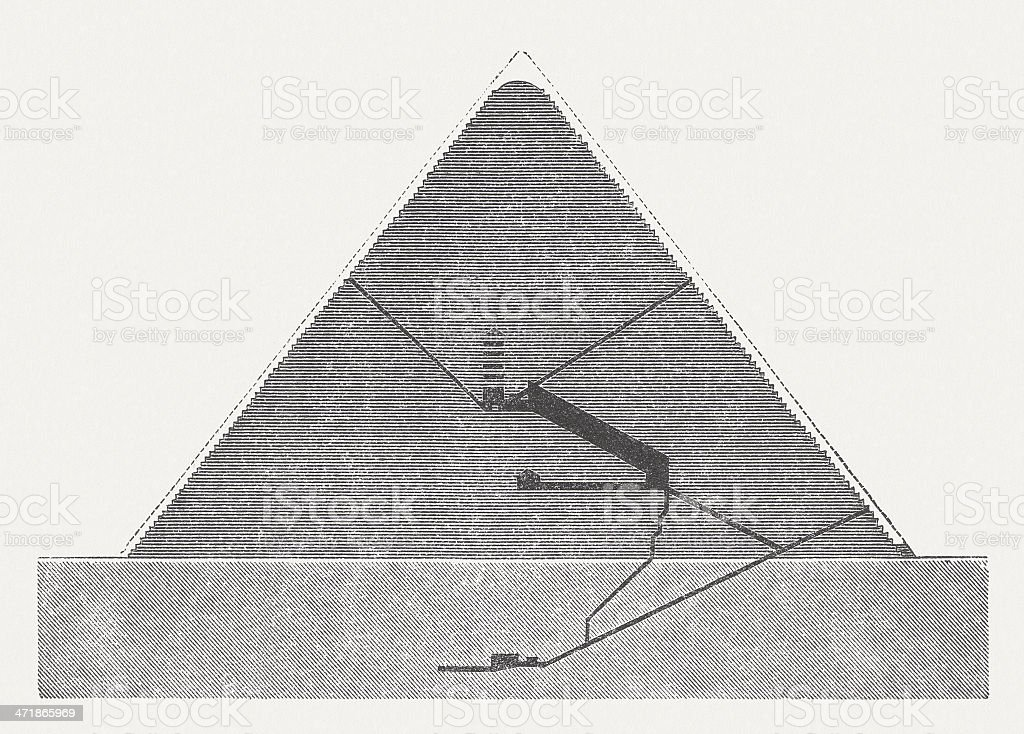Pyramid of Cheops in profile, wood engraving, published in 1876. royalty-free stock vector art