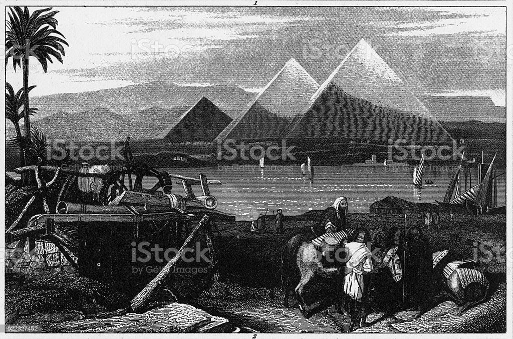 Pyramids Of Giza Engraving vector art illustration