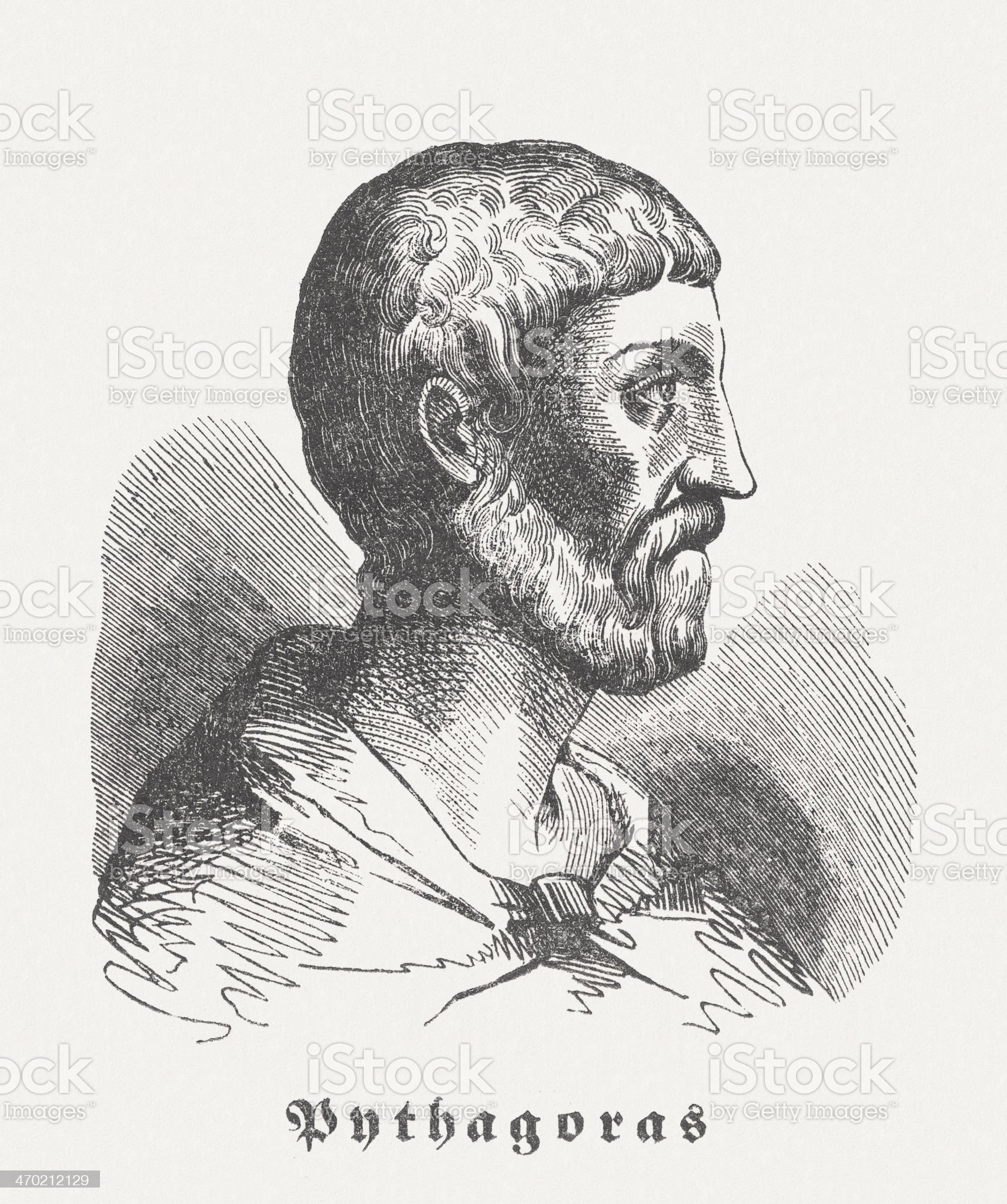 Pythagoras of Samos (c. 570 BC-after 510 BC), published 1864 royalty-free stock vector art