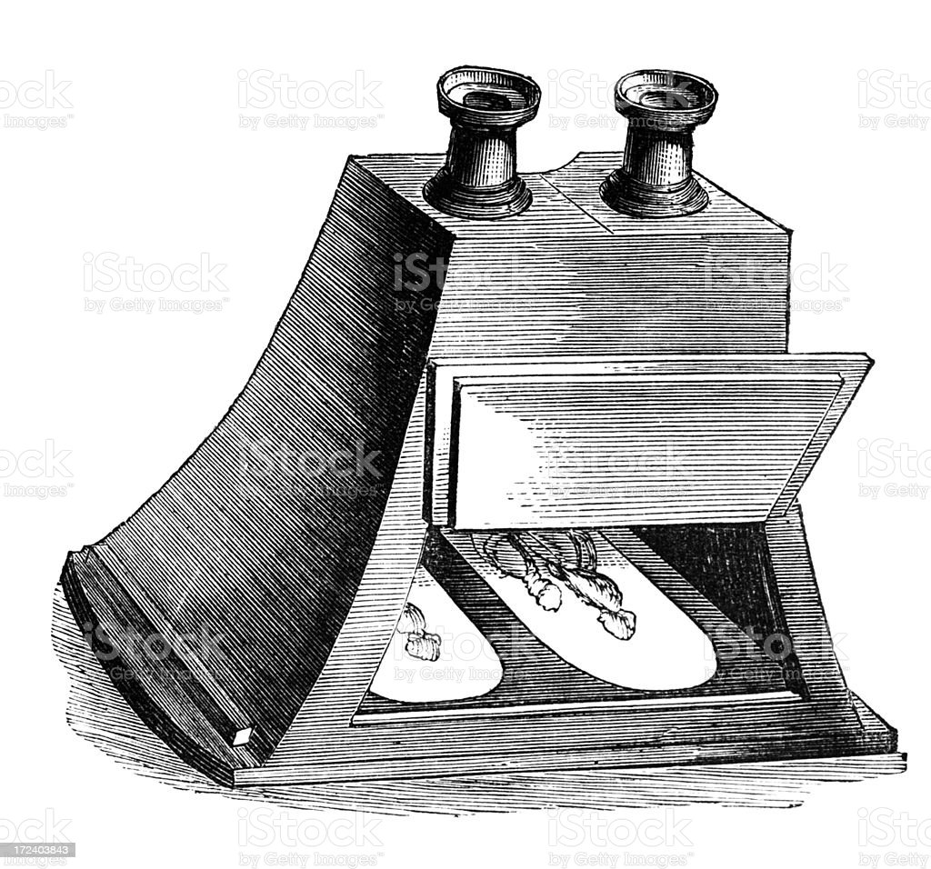 q9th century engraving of a stereoscope royalty-free stock vector art