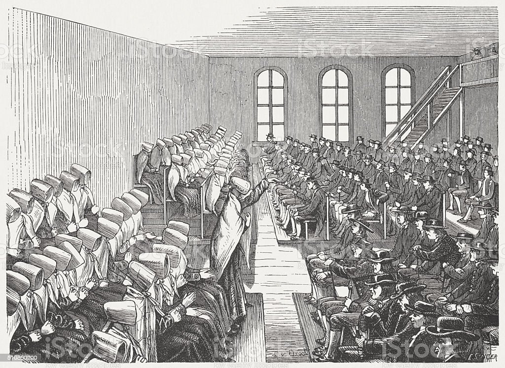 Quaker Meeting in Philadelphia, wood engraving, published in 1880 vector art illustration