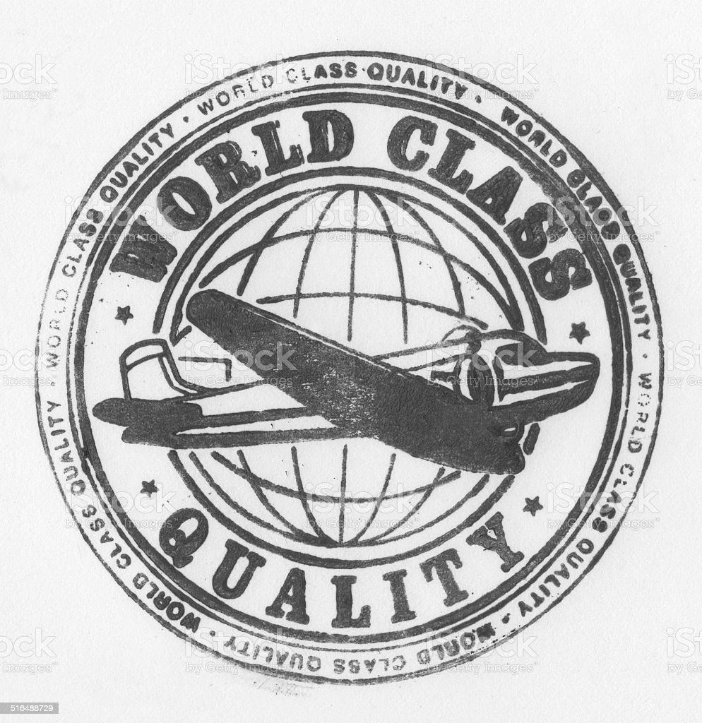 Quality Stamp with vintage airplane vector art illustration