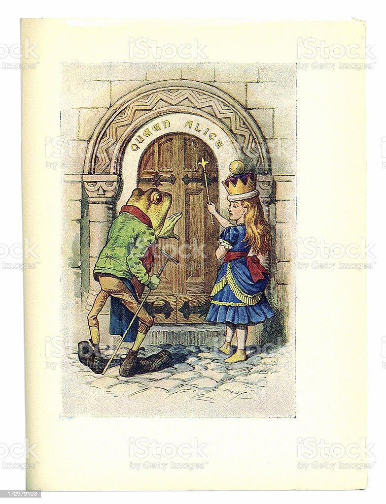Queen Alice and frog illustration, (Alice's Adventures in Wonderland) royalty-free stock vector art