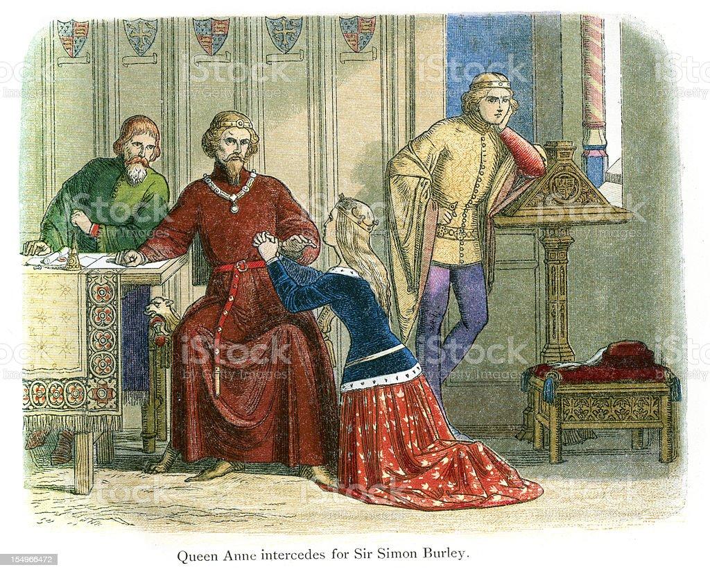 Queen Anne intercedes for Sir Simon Burley vector art illustration