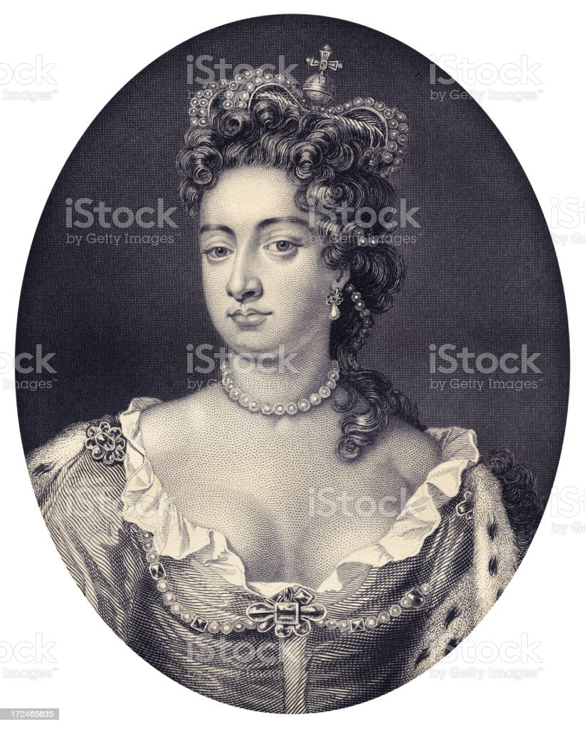 Queen Anne of Great Britain royalty-free stock vector art