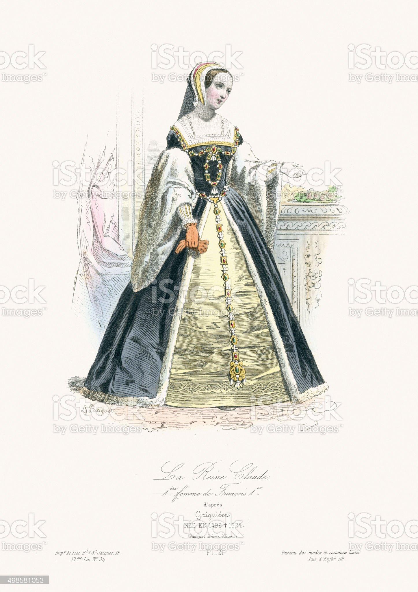 Queen Claude of France royalty-free stock vector art