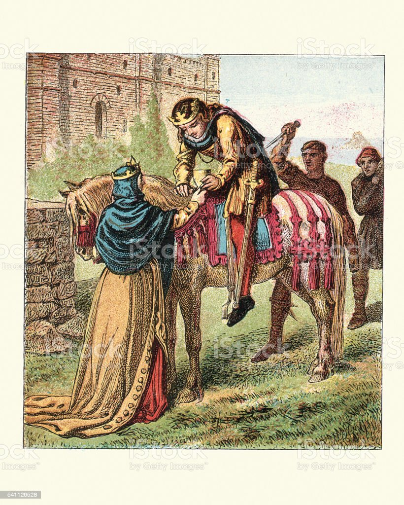 Queen Elfrida and the murder of King Edward the Martyr vector art illustration