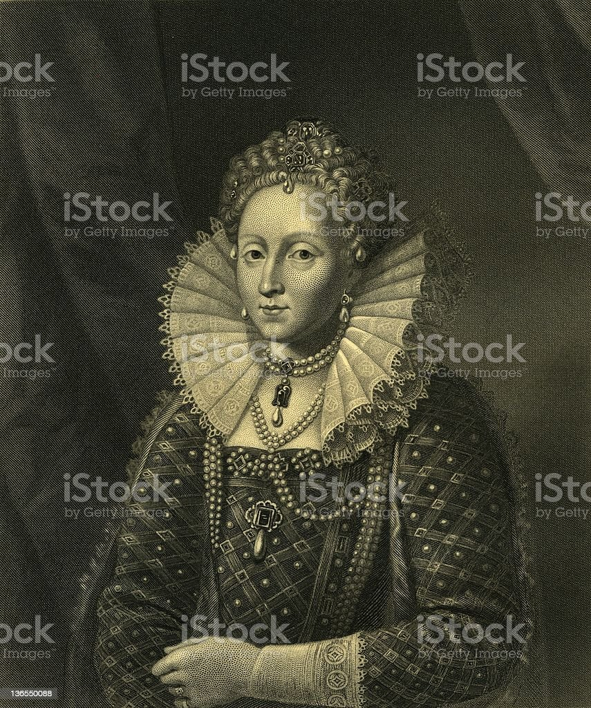 Queen Elisabeth I royalty-free stock vector art