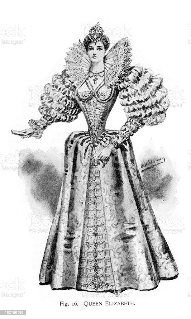Queen Elizabeth Costume royalty-free stock vector art