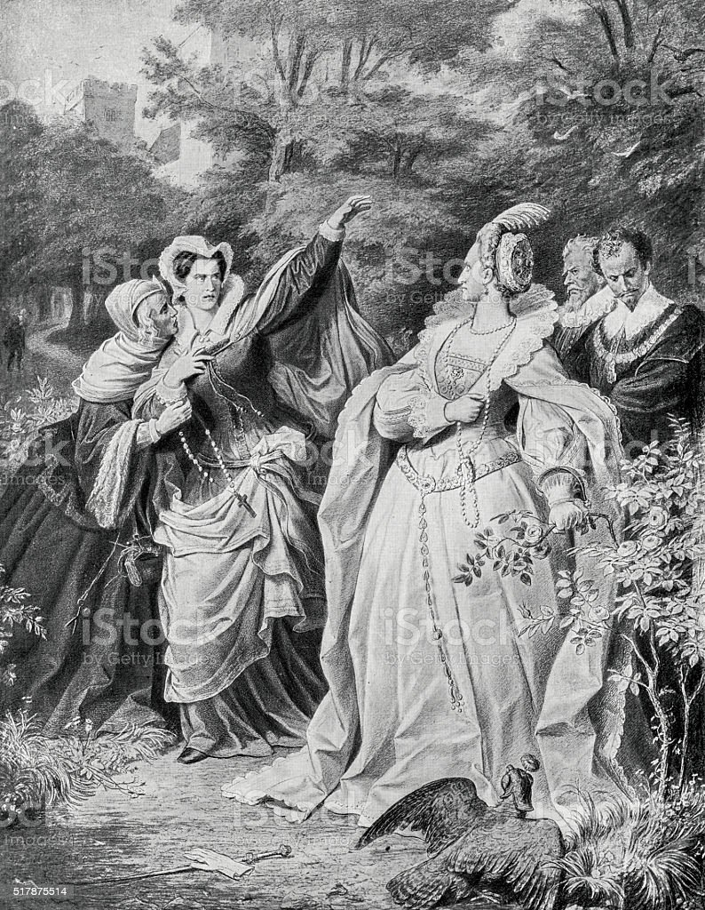 Queen Elizabeth I And Mary, Queen Of Scots vector art illustration